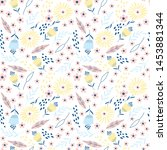 seamless pattern with flowers.... | Shutterstock .eps vector #1453881344
