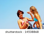 young attractive girls enjoying ... | Shutterstock . vector #14538868