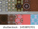 collection of seamless patterns.... | Shutterstock .eps vector #1453891931