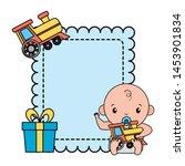 cute little baby boy with train ... | Shutterstock .eps vector #1453901834