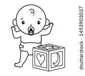 cute little baby boy with cube... | Shutterstock .eps vector #1453903037
