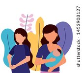 pregnancy woman and mother with ... | Shutterstock .eps vector #1453903127