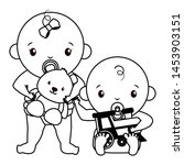 babies boy and girl baby shower ... | Shutterstock .eps vector #1453903151