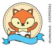 cute little fox baby in frame... | Shutterstock .eps vector #1453903361