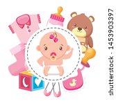 cute girl in diaper with bear... | Shutterstock .eps vector #1453903397