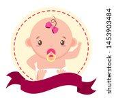 cute girl in diaper sticker... | Shutterstock .eps vector #1453903484