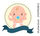 boy with pacifier sticker on... | Shutterstock .eps vector #1453903811