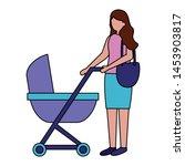 mother with baby pram maternity ... | Shutterstock .eps vector #1453903817