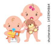 babies boy and girl baby shower ... | Shutterstock .eps vector #1453904864