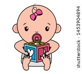 cute little baby girl with... | Shutterstock .eps vector #1453904894
