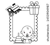 baby boy with toys banner baby... | Shutterstock .eps vector #1453904987