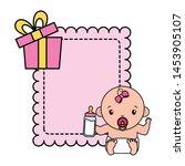cute little baby girl with milk ... | Shutterstock .eps vector #1453905107