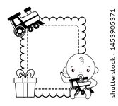 baby boy with train toy gift... | Shutterstock .eps vector #1453905371