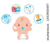 cute little baby boy with train ... | Shutterstock .eps vector #1453905497