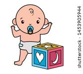 cute little baby boy with cube... | Shutterstock .eps vector #1453905944