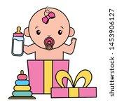 cute little baby girl with milk ... | Shutterstock .eps vector #1453906127