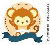 cute little monkey in frame... | Shutterstock .eps vector #1453906661