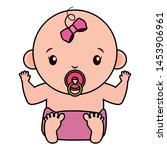 cute little baby girl character ... | Shutterstock .eps vector #1453906961