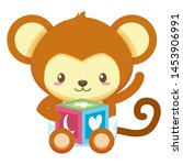 cute little monkey with block... | Shutterstock .eps vector #1453906991
