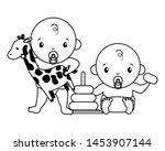 babies boy and girl baby shower ... | Shutterstock .eps vector #1453907144