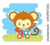 cute little monkey with block... | Shutterstock .eps vector #1453907201