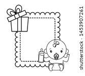 cute girl in diaper with bottle ... | Shutterstock .eps vector #1453907261