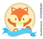 cute little fox baby in frame... | Shutterstock .eps vector #1453908284