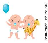 babies boy and girl baby shower ... | Shutterstock .eps vector #1453908731