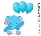 cute little elephant baby with... | Shutterstock .eps vector #1453908794