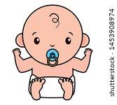 cute little baby boy with... | Shutterstock .eps vector #1453908974