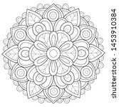 adult coloring book page a zen... | Shutterstock .eps vector #1453910384