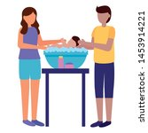 father and mother washing her... | Shutterstock .eps vector #1453914221