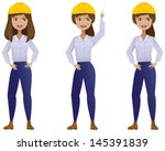 professional woman in a hard hat | Shutterstock .eps vector #145391839