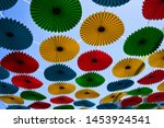 Suspended Colorful Parasols In...