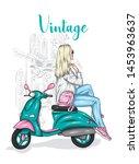 beautiful girl in a stylish... | Shutterstock .eps vector #1453963637