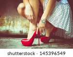 woman legs in red high heel... | Shutterstock . vector #145396549