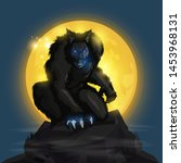 Werewolf And Fullmoon Design O...