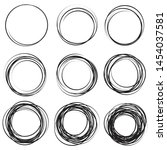 hand drawn ink line circles or... | Shutterstock .eps vector #1454037581