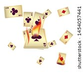 casino playing cards and fire....   Shutterstock .eps vector #1454057441