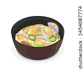 a bowl of hot clam soup.   Shutterstock .eps vector #1454087774