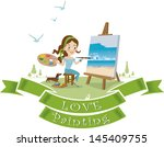 woman paint on canvas. | Shutterstock .eps vector #145409755