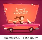 girl driving car. vector retro... | Shutterstock .eps vector #145410229