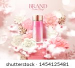 pink skincare bottle ads with... | Shutterstock .eps vector #1454125481