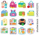 meals lunch box icons set. flat ... | Shutterstock .eps vector #1454132291