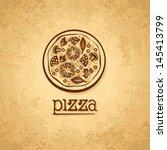 pizza. vintage fast food... | Shutterstock .eps vector #145413799