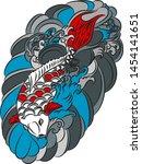 beautiful line art koi carp... | Shutterstock .eps vector #1454141651