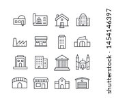 simple set of buildings icons... | Shutterstock .eps vector #1454146397