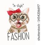 Fashion Slogan With Cute Cat On ...