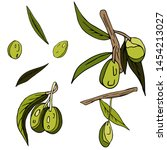 set of olives  twigs  leaves... | Shutterstock . vector #1454213027