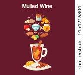 mulled wine ingredients  recipe ...   Shutterstock .eps vector #1454216804